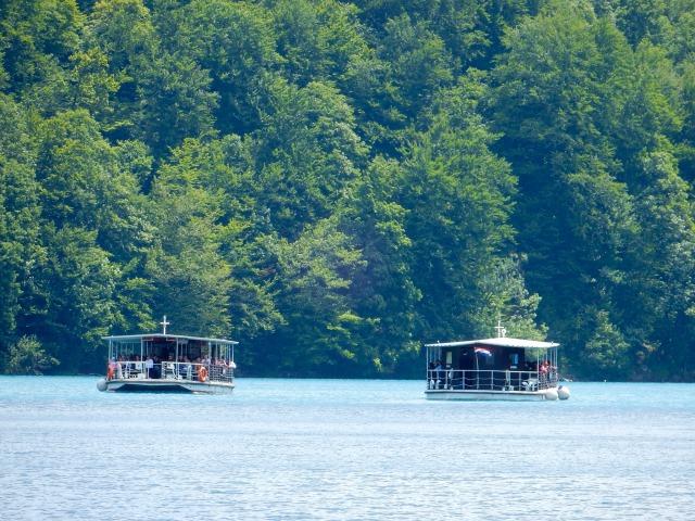 コジャク湖を縦断する遊覧船