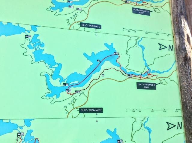 プリトヴィツェ散策Bコースのルート