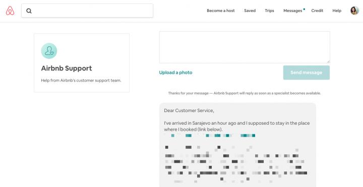 Airbnbサポートへのメッセージ送信画面