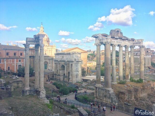 ローマの休日ロケ地巡り:カンピドーリオの丘から見たフォロ・ロマーノ