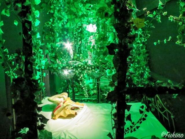 穴を覗くと突如現れるアマゾンみたいな 緑の部屋